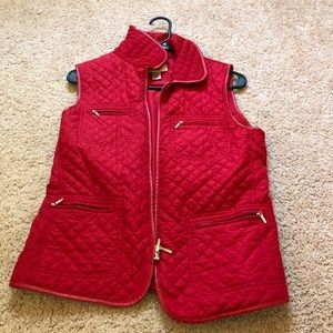 Talbots Red quilted vest